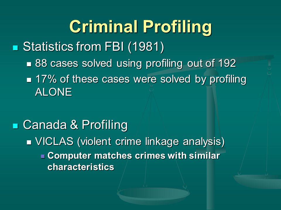 Criminal Profiling Statistics from FBI (1981) Canada & Profiling