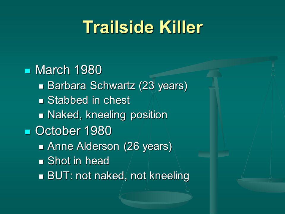 Trailside Killer March 1980 October 1980 Barbara Schwartz (23 years)