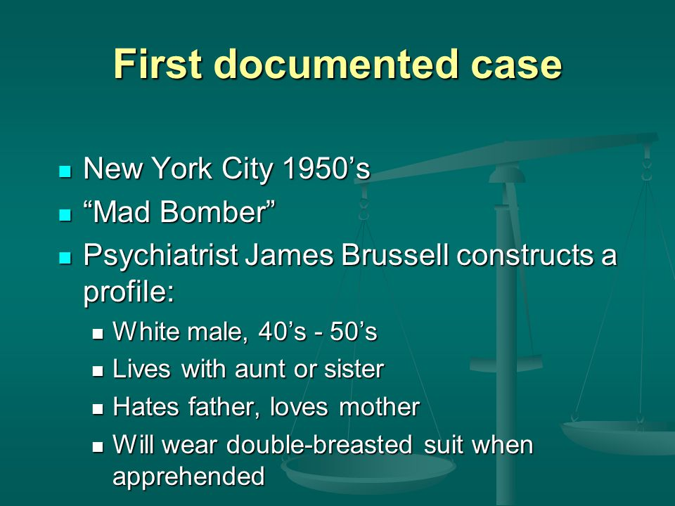 First documented case New York City 1950's Mad Bomber