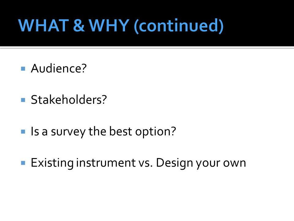 WHAT & WHY (continued) Audience Stakeholders