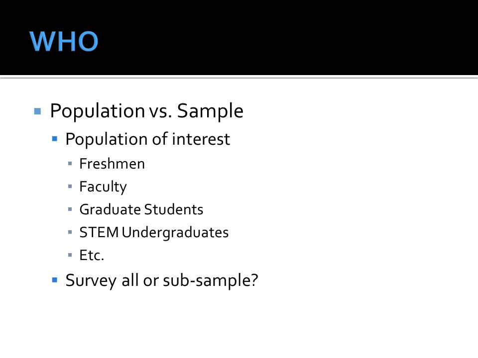 WHO Population vs. Sample Population of interest