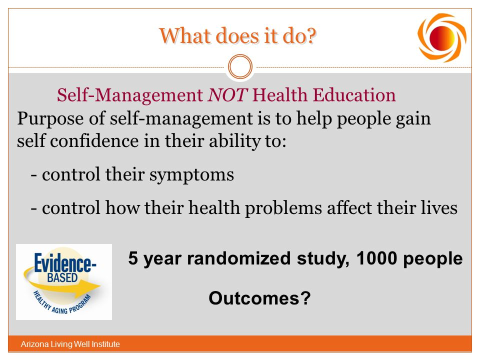 What does it do Self-Management NOT Health Education