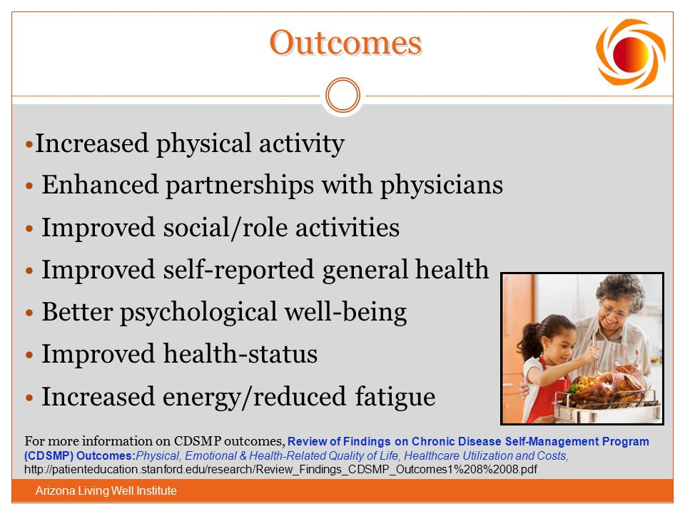 Outcomes Increased physical activity