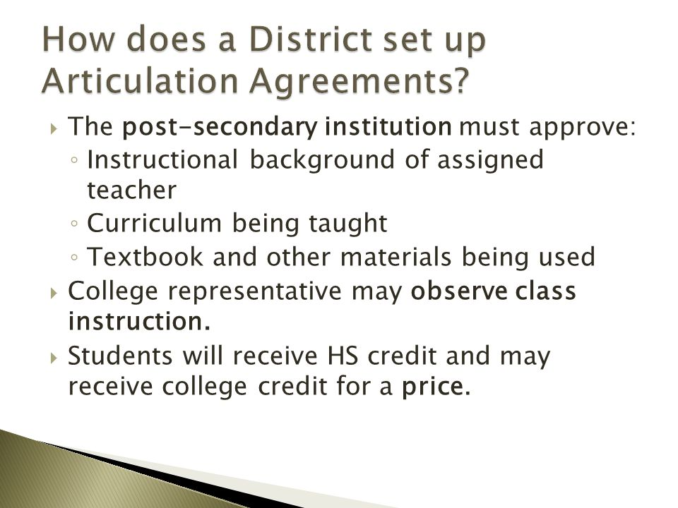 How does a District set up Articulation Agreements