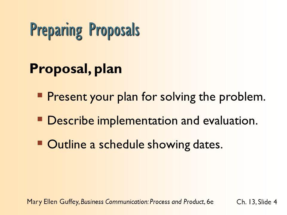 Preparing Proposals Proposal, plan
