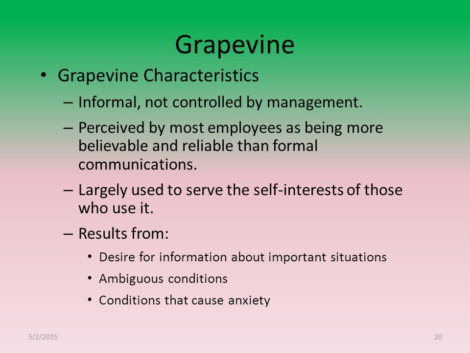 Grapevine Grapevine Characteristics