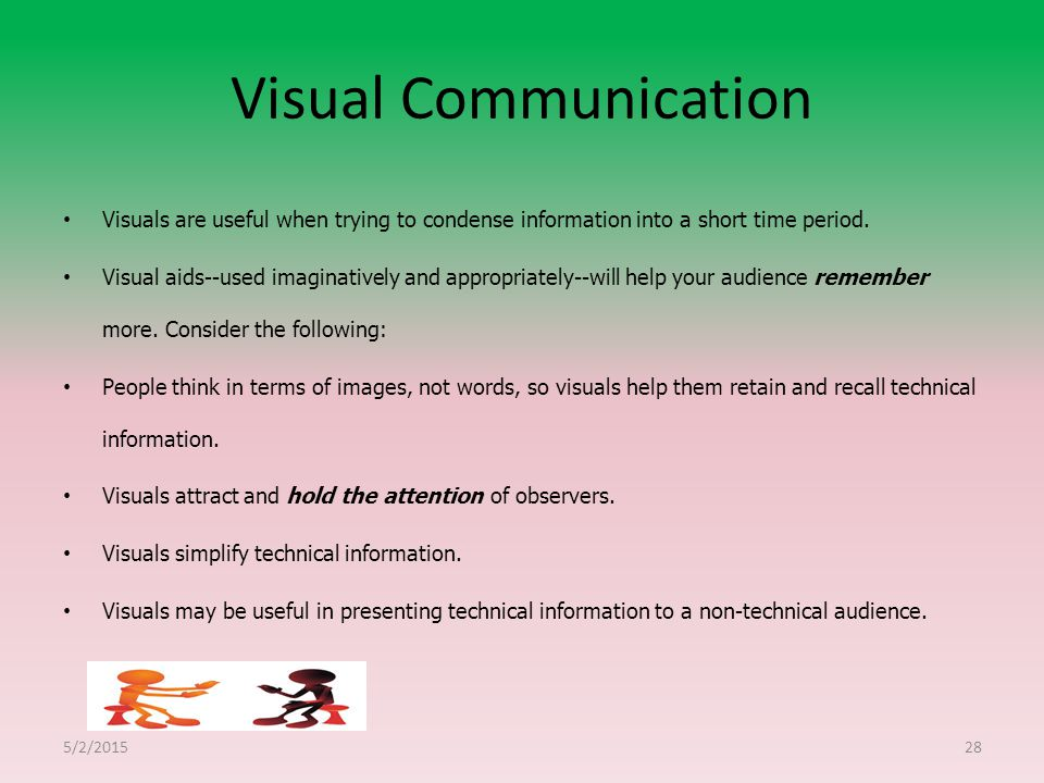 Visual Communication Visuals are useful when trying to condense information into a short time period.