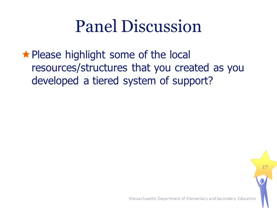 Panel Discussion Please highlight some of the local resources/structures that you created as you developed a tiered system of support