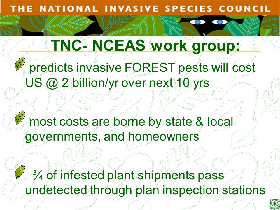 TNC- NCEAS work group: predicts invasive FOREST pests will cost US @ 2 billion/yr over next 10 yrs.
