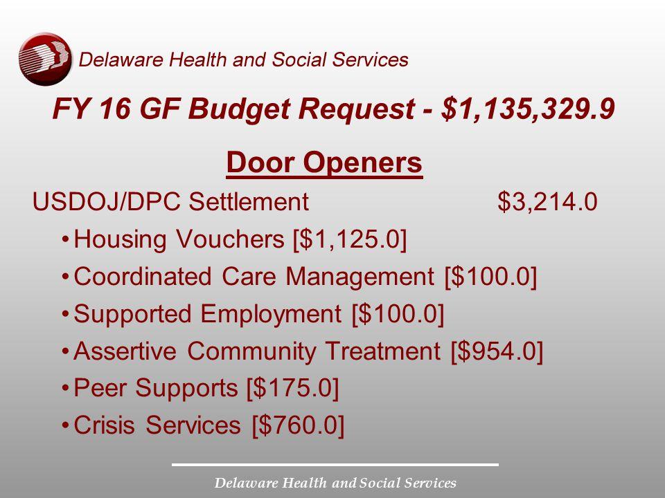 FY 16 GF Budget Request - $1,135,329.9 Door Openers