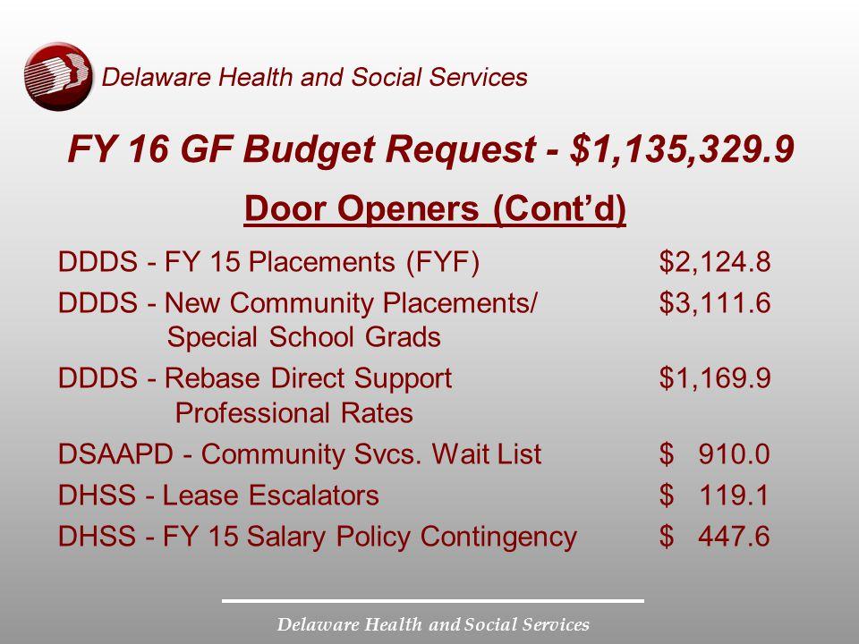 FY 16 GF Budget Request - $1,135,329.9 Door Openers (Cont'd)