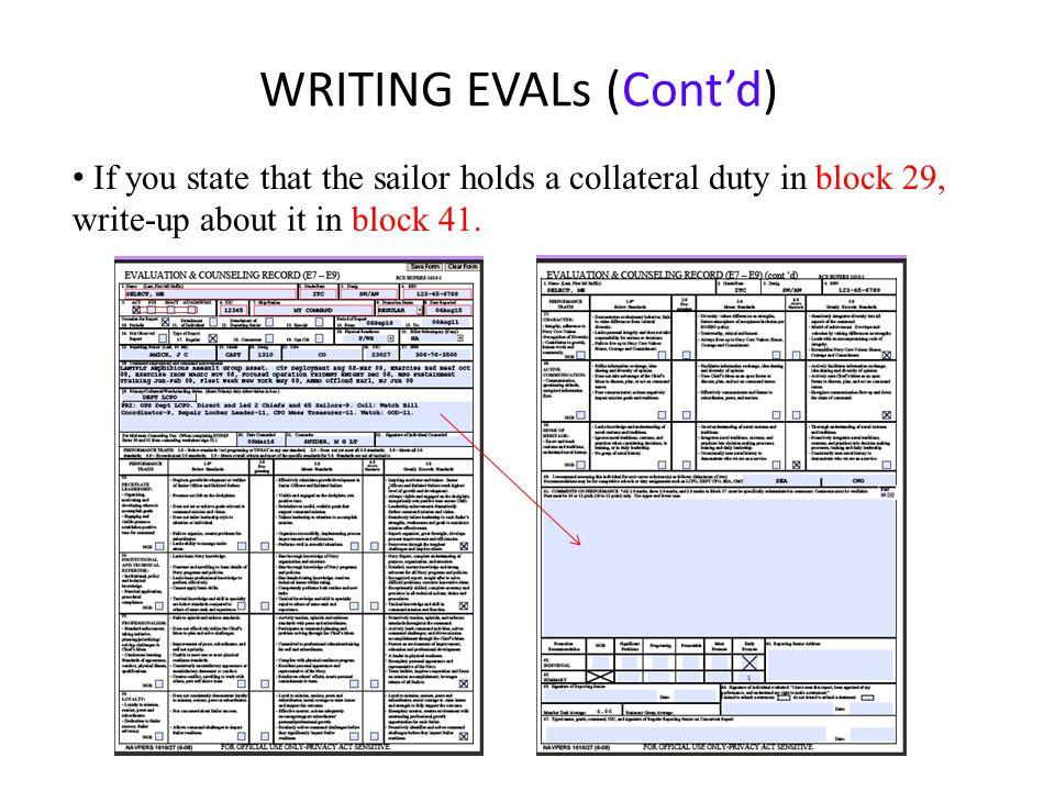 WRITING EVALs (Cont'd)