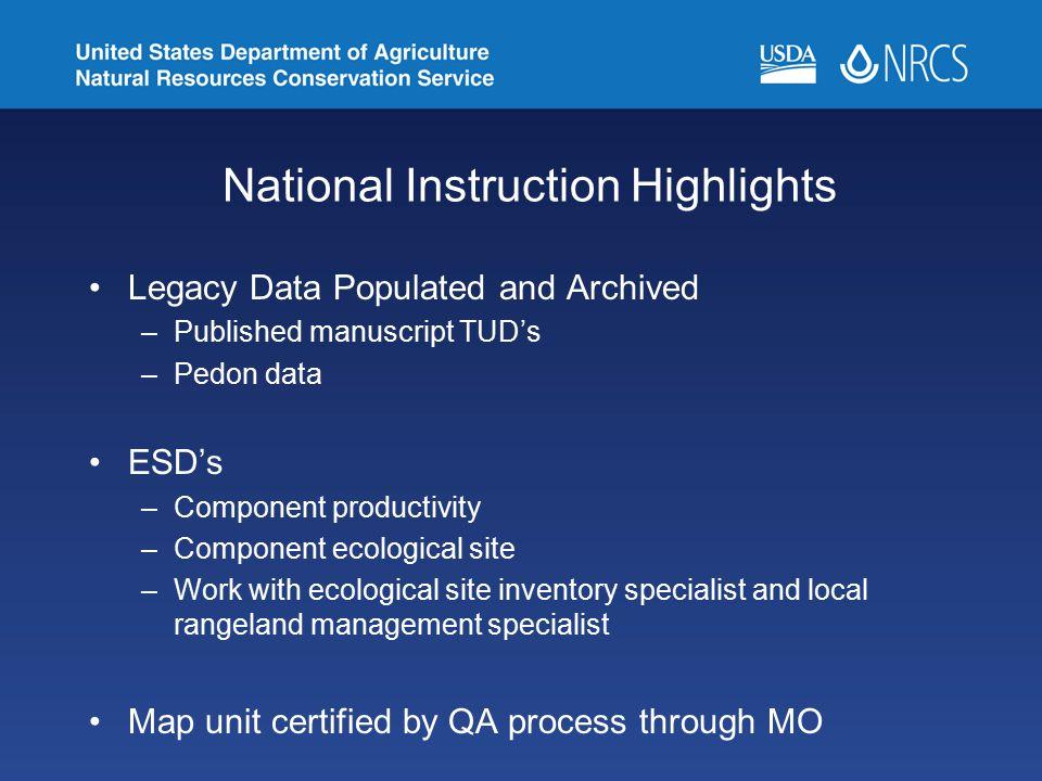 National Instruction Highlights