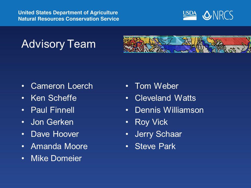 Advisory Team Cameron Loerch Tom Weber Ken Scheffe Cleveland Watts