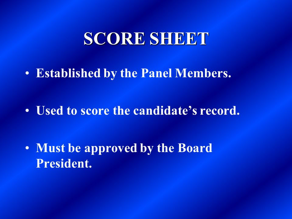 SCORE SHEET Established by the Panel Members.