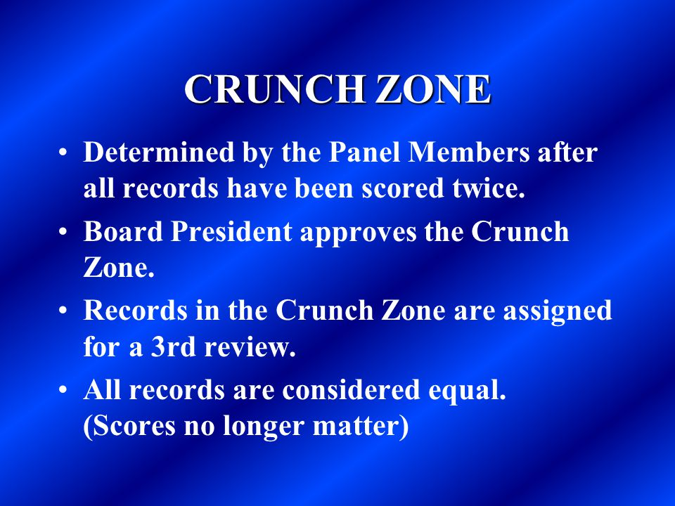 CRUNCH ZONE Determined by the Panel Members after all records have been scored twice. Board President approves the Crunch Zone.
