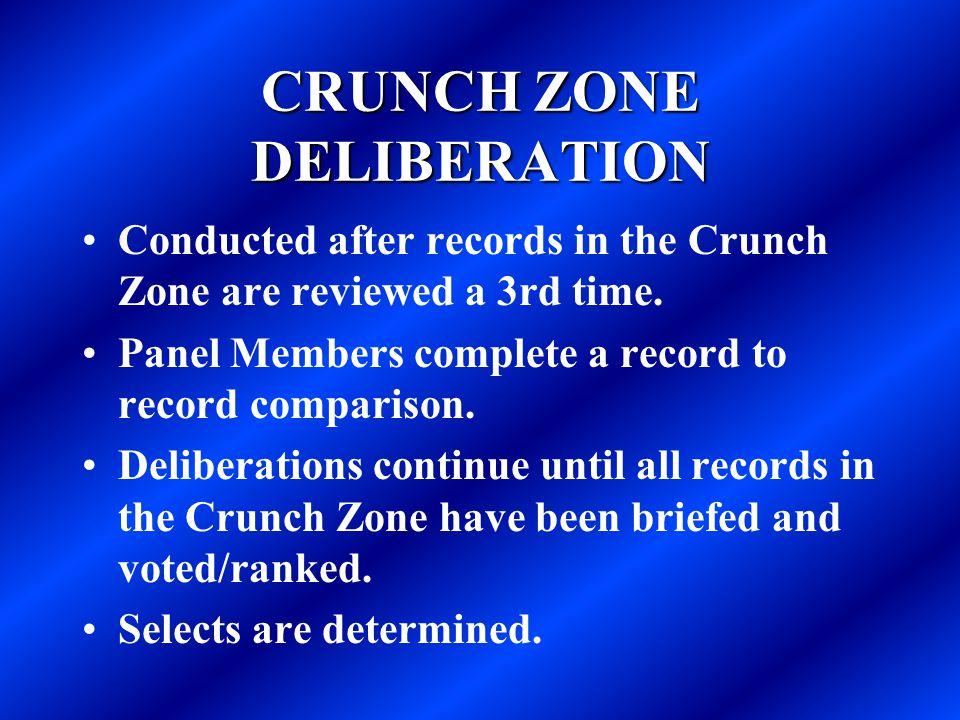 CRUNCH ZONE DELIBERATION