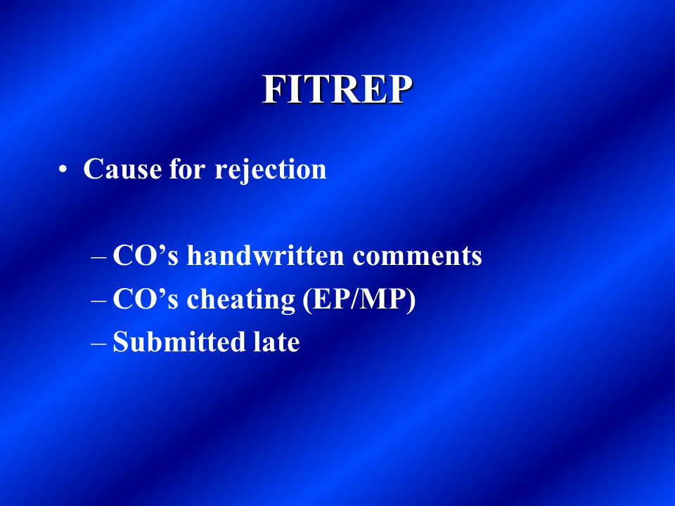 FITREP Cause for rejection CO's handwritten comments