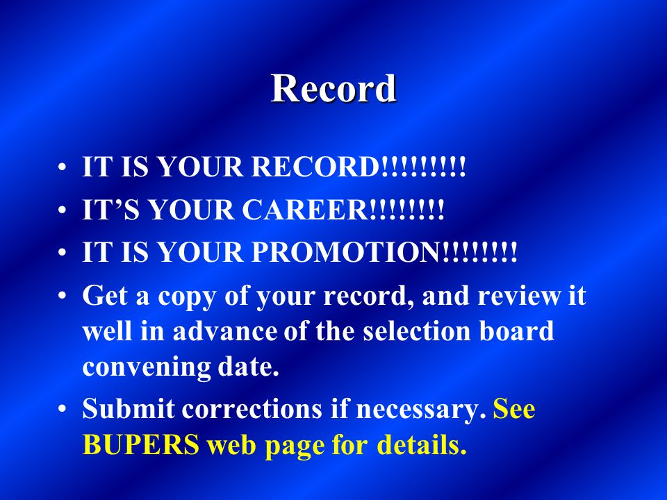 Record IT IS YOUR RECORD!!!!!!!!! IT'S YOUR CAREER!!!!!!!!