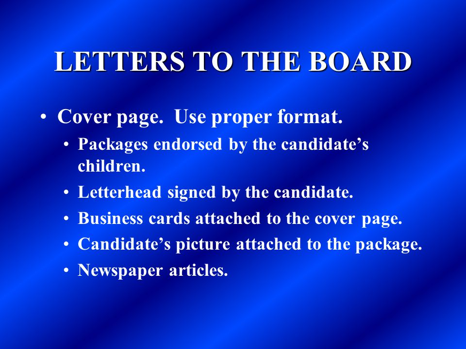 LETTERS TO THE BOARD Cover page. Use proper format.