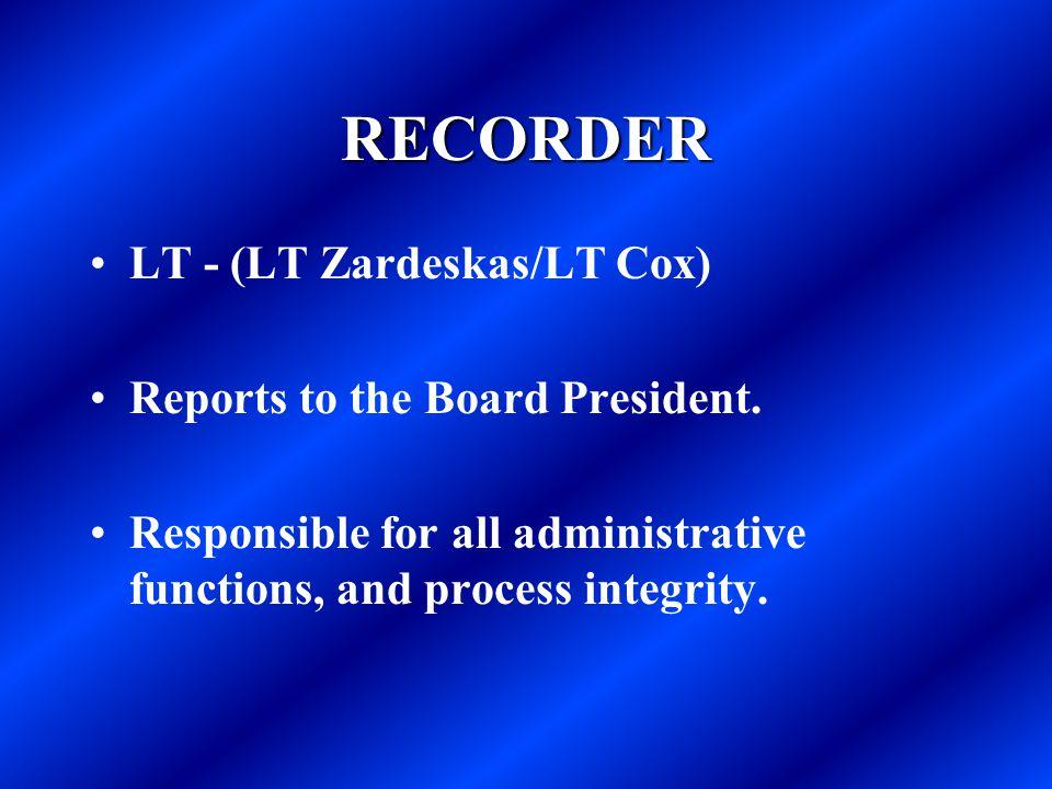 RECORDER LT - (LT Zardeskas/LT Cox) Reports to the Board President.