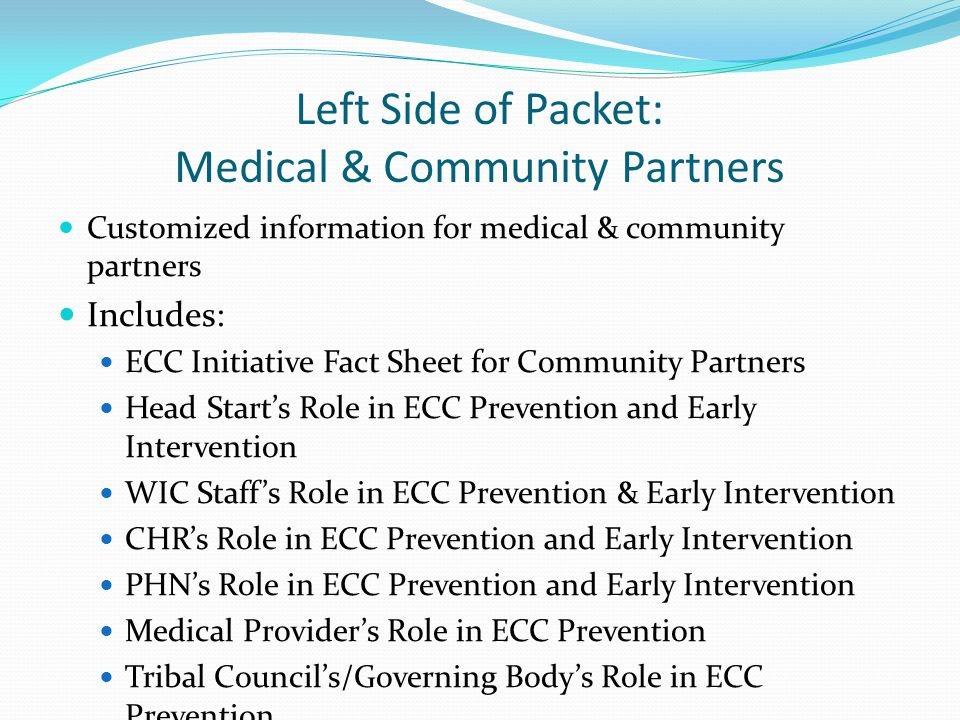 Left Side of Packet: Medical & Community Partners