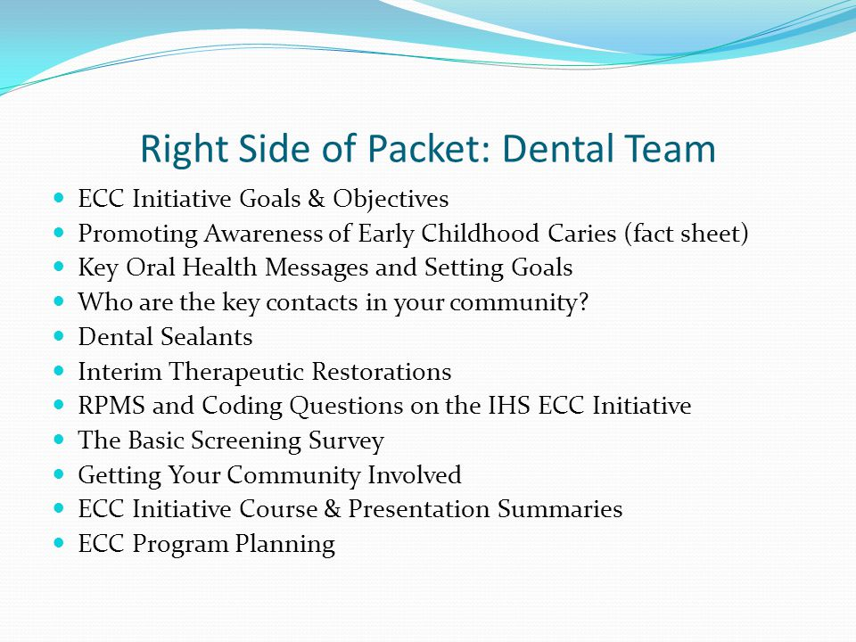 Right Side of Packet: Dental Team