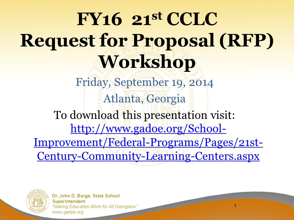 FY16 21st CCLC Request for Proposal (RFP) Workshop