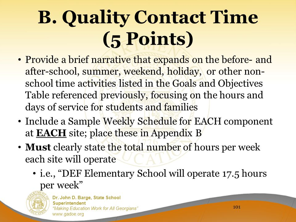 B. Quality Contact Time (5 Points)