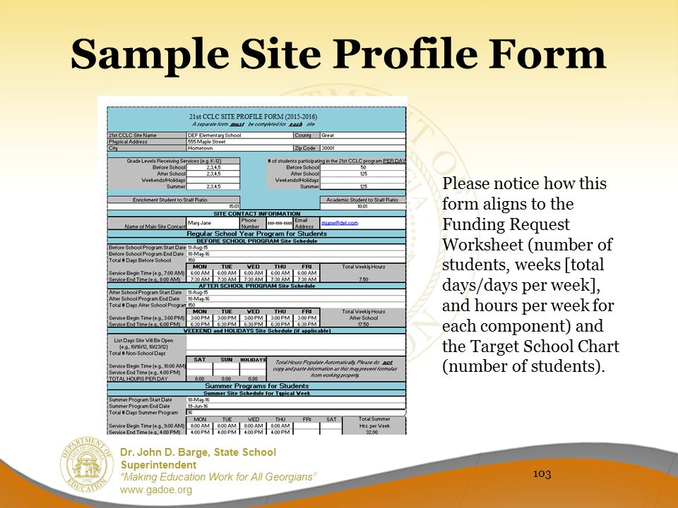Sample Site Profile Form