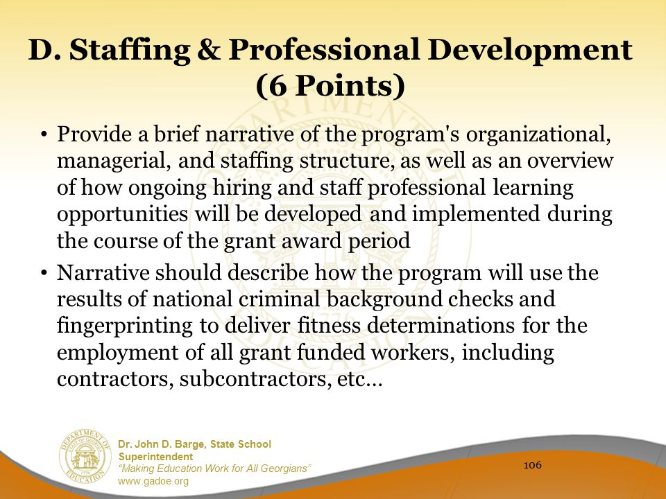 D. Staffing & Professional Development (6 Points)