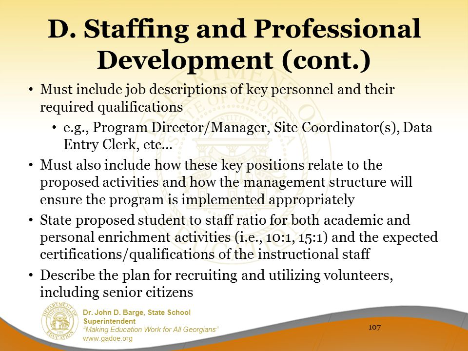 D. Staffing and Professional Development (cont.)