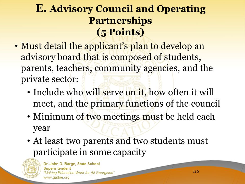E. Advisory Council and Operating Partnerships (5 Points)