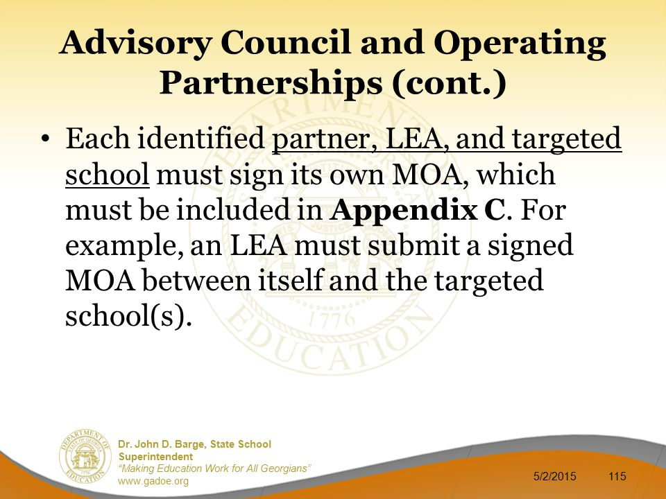 Advisory Council and Operating Partnerships (cont.)