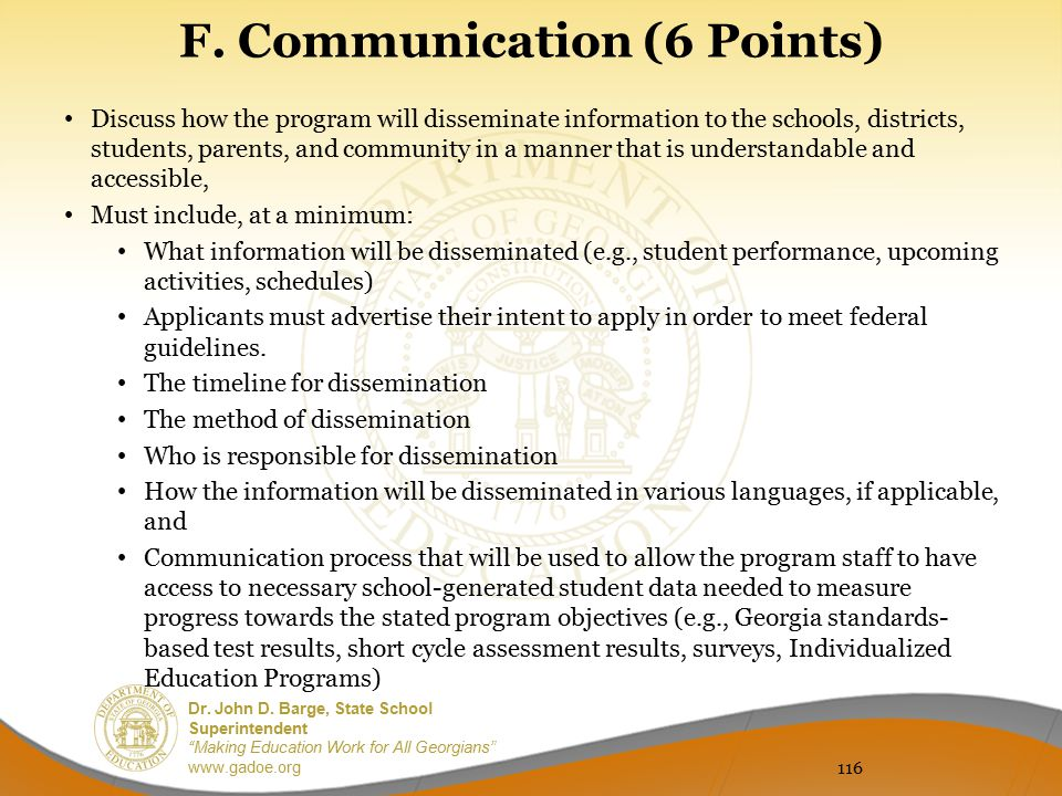 F. Communication (6 Points)