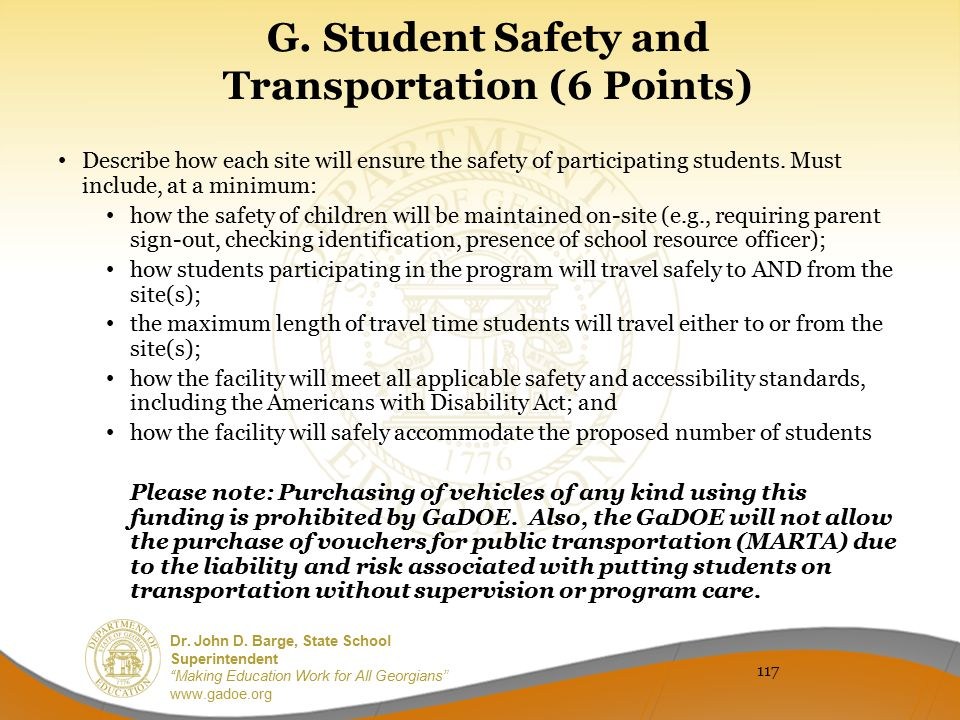 G. Student Safety and Transportation (6 Points)