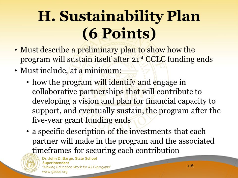 H. Sustainability Plan (6 Points)