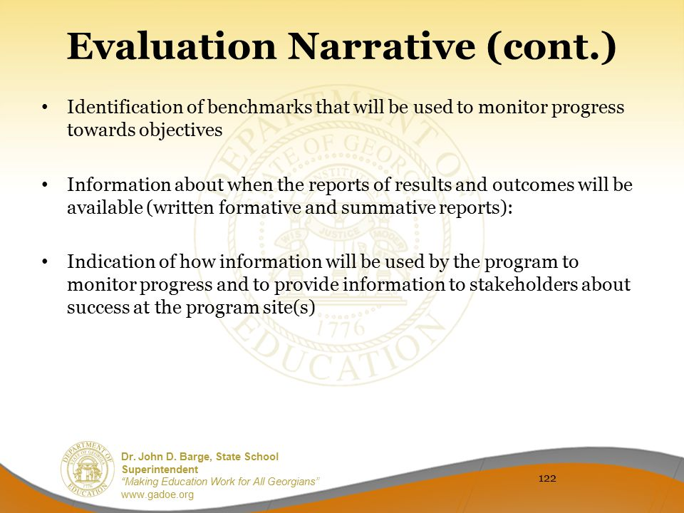 Evaluation Narrative (cont.)
