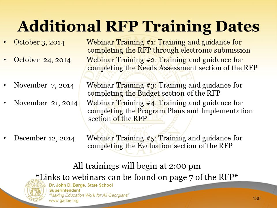 Additional RFP Training Dates