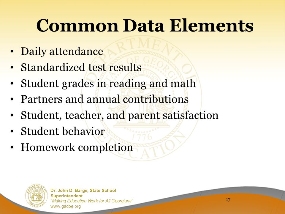 Common Data Elements Daily attendance Standardized test results
