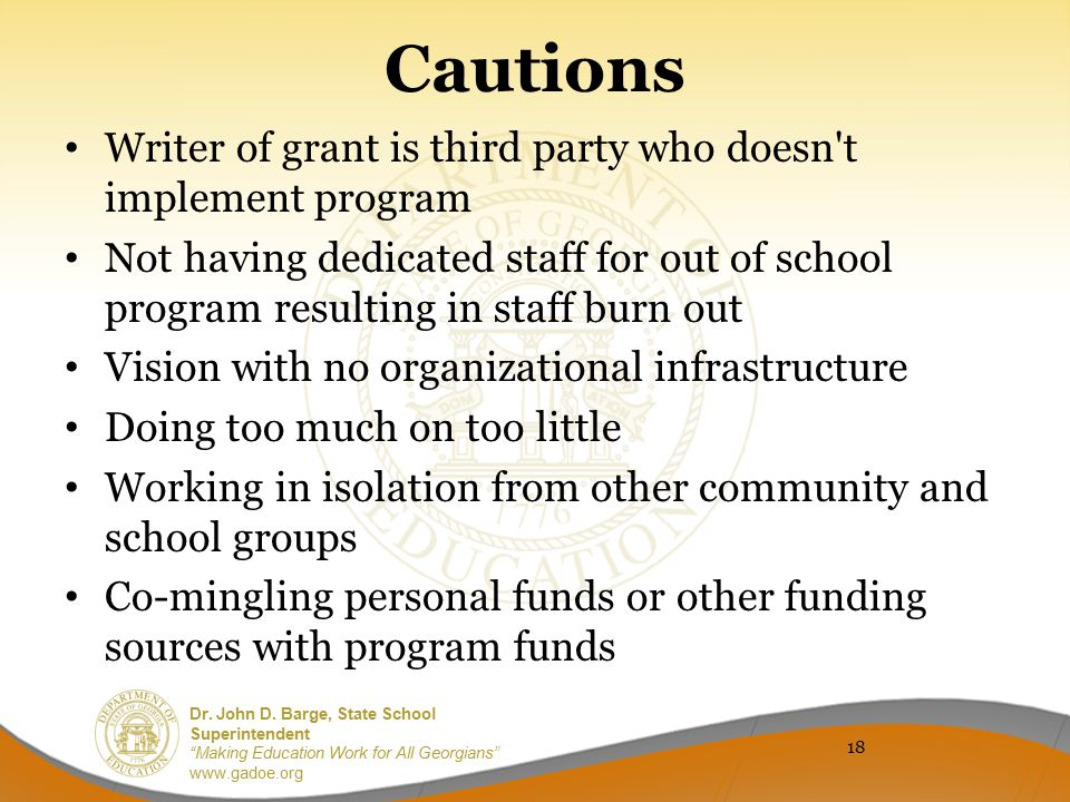 Cautions Writer of grant is third party who doesn t implement program