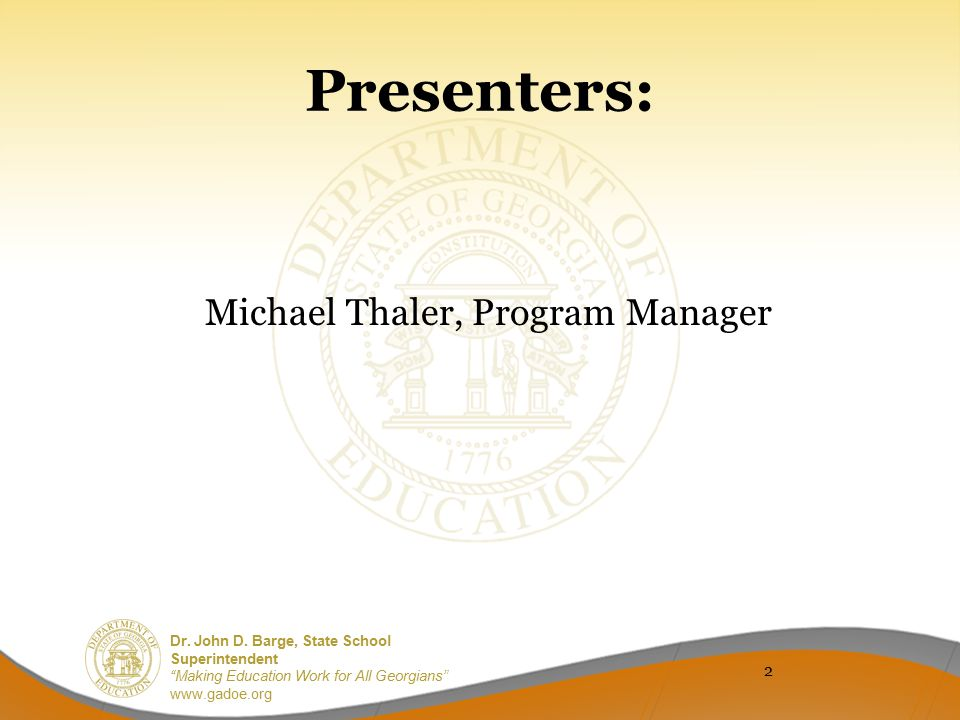 Michael Thaler, Program Manager