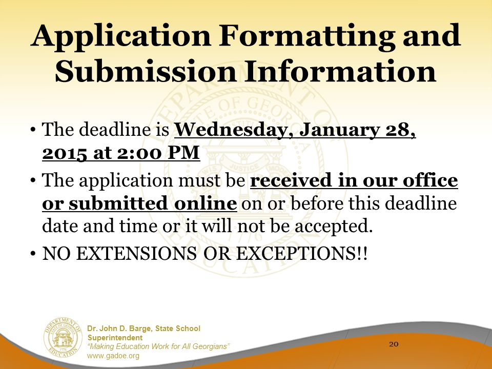 Application Formatting and Submission Information