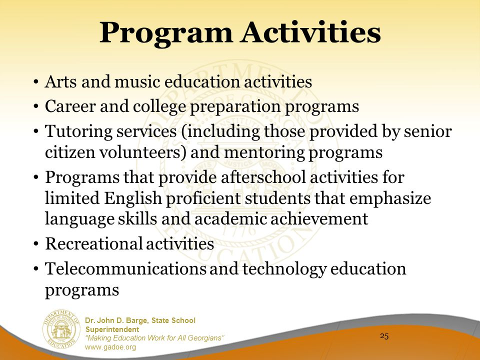 Program Activities Arts and music education activities