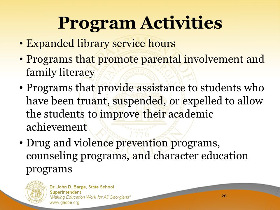 Program Activities Expanded library service hours