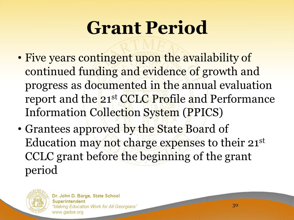 Grant Period