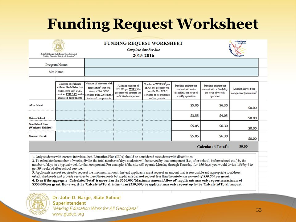 Funding Request Worksheet