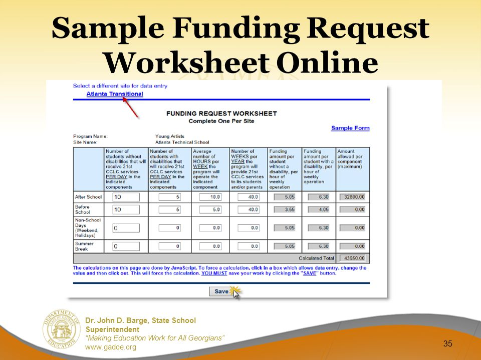 Sample Funding Request Worksheet Online