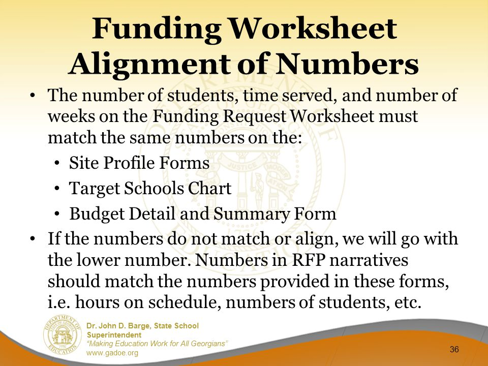 Funding Worksheet Alignment of Numbers