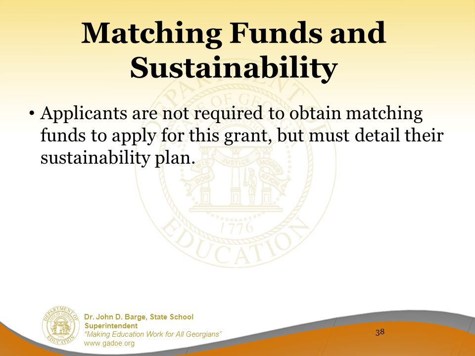 Matching Funds and Sustainability